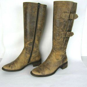 ECCO Distressed Leather Buckle Tall Boots 38 7 7.5